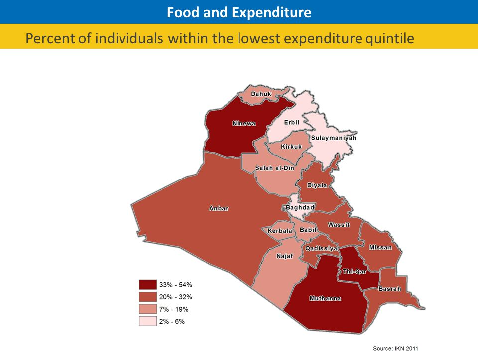 Food and Expenditure Percent of individuals within the lowest expenditure quintile