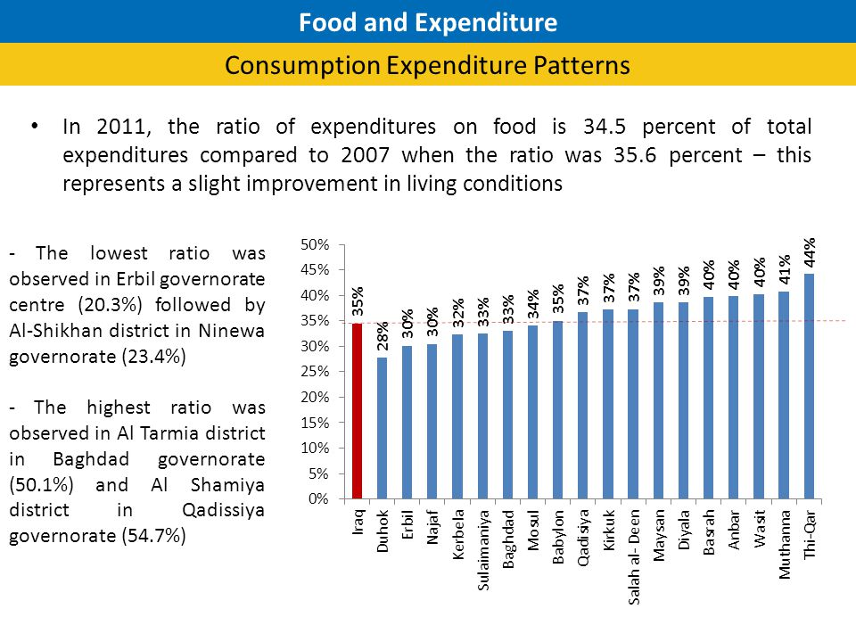 In 2011, the ratio of expenditures on food is 34.5 percent of total expenditures compared to 2007 when the ratio was 35.6 percent – this represents a slight improvement in living conditions - The lowest ratio was observed in Erbil governorate centre (20.3%) followed by Al-Shikhan district in Ninewa governorate (23.4%) - The highest ratio was observed in Al Tarmia district in Baghdad governorate (50.1%) and Al Shamiya district in Qadissiya governorate (54.7%) Food and Expenditure Consumption Expenditure Patterns