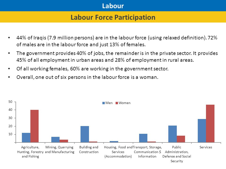 Labour Unemployment Unemployment rate is 11% nationally (7% of males and 13% of females).