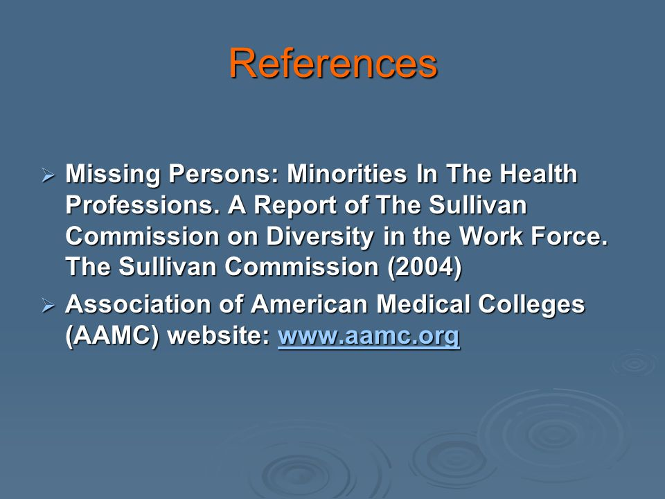 References Missing Persons: Minorities In The Health Professions.