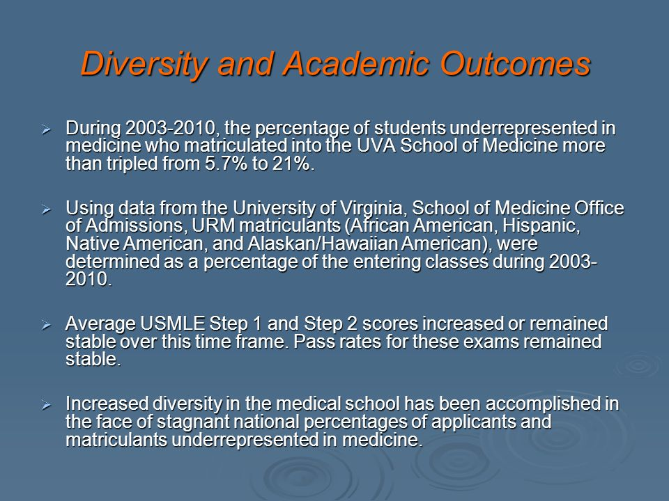 Diversity and Academic Outcomes During 2003-2010, the percentage of students underrepresented in medicine who matriculated into the UVA School of Medicine more than tripled from 5.7% to 21%.