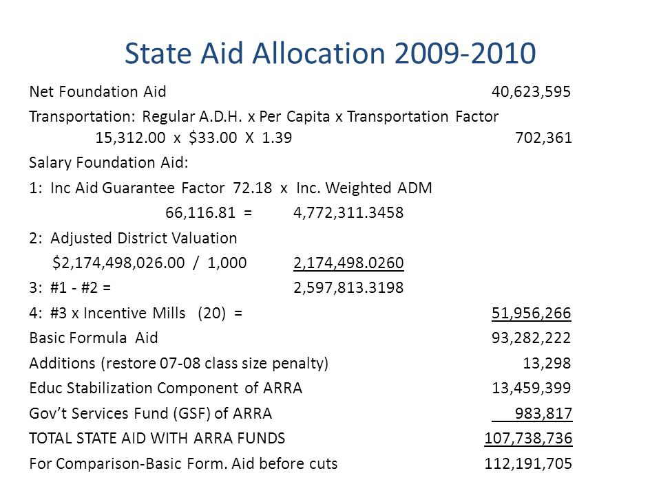 State Aid Allocation 2009-2010 Net Foundation Aid 40,623,595 Transportation: Regular A.D.H.