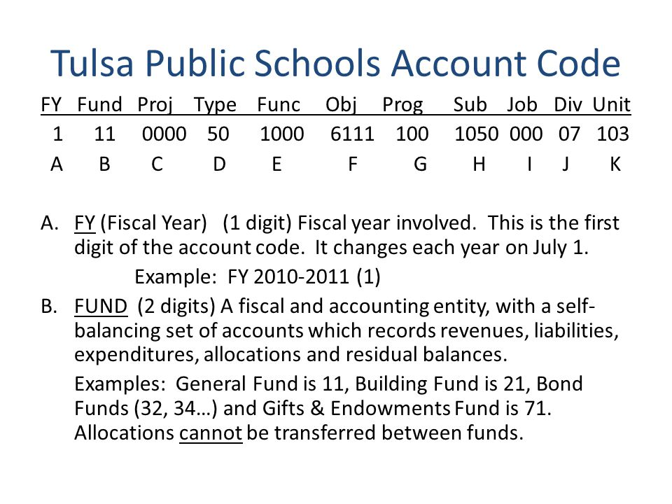 Tulsa Public Schools Account Code FY Fund Proj Type Func Obj Prog Sub Job Div Unit 1 11 0000 50 1000 6111 100 1050 000 07 103 A B C D E F G H I J K A.FY (Fiscal Year) (1 digit) Fiscal year involved.