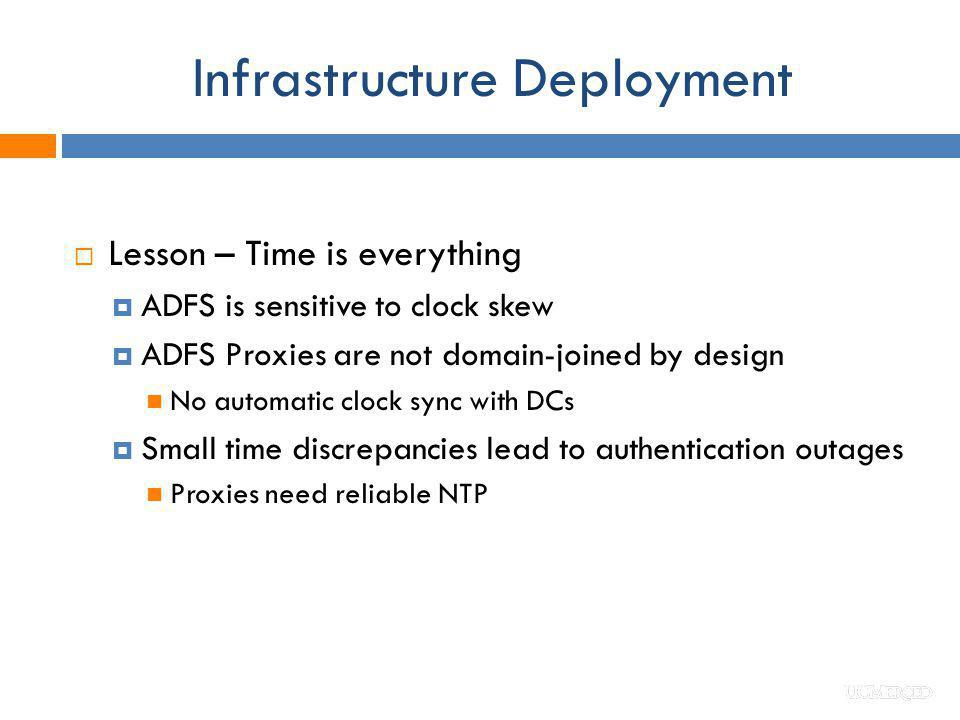 Infrastructure Deployment Lesson – Time is everything ADFS is sensitive to clock skew ADFS Proxies are not domain-joined by design No automatic clock