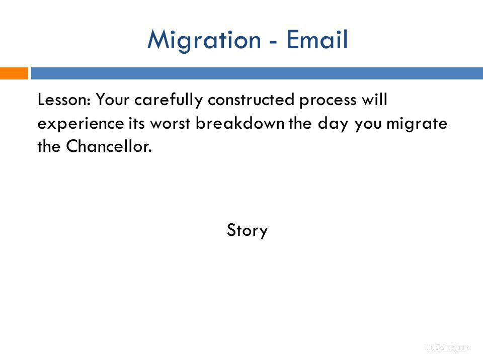 Migration - Email Lesson: Your carefully constructed process will experience its worst breakdown the day you migrate the Chancellor. Story