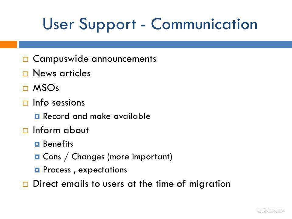User Support - Communication Campuswide announcements News articles MSOs Info sessions Record and make available Inform about Benefits Cons / Changes