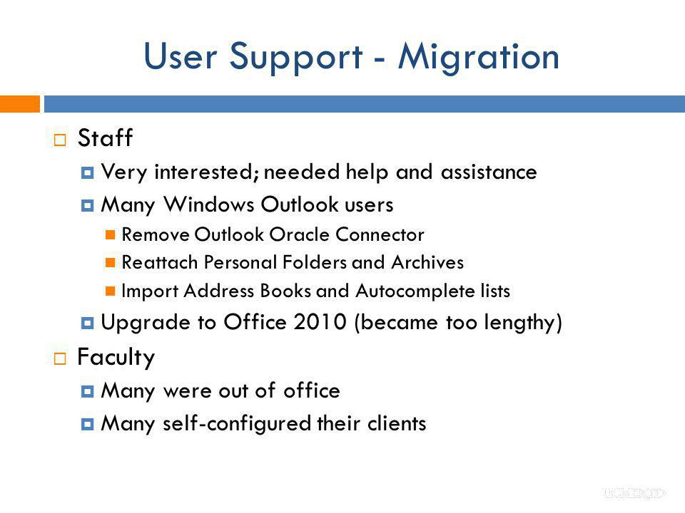 User Support - Migration Staff Very interested; needed help and assistance Many Windows Outlook users Remove Outlook Oracle Connector Reattach Persona