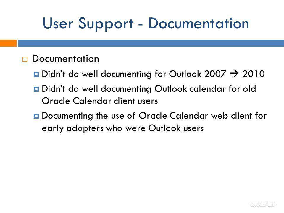 User Support - Documentation Documentation Didnt do well documenting for Outlook 2007 2010 Didnt do well documenting Outlook calendar for old Oracle C