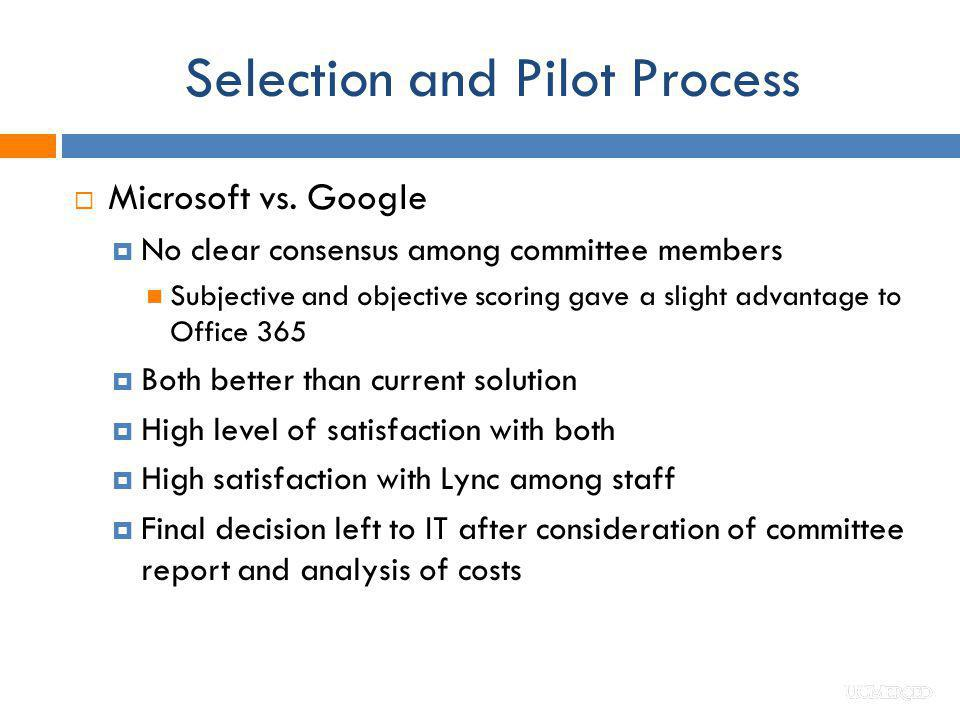 Selection and Pilot Process Microsoft vs. Google No clear consensus among committee members Subjective and objective scoring gave a slight advantage t