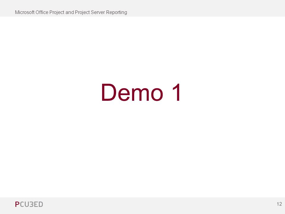 Microsoft Office Project and Project Server Reporting 12 Demo 1