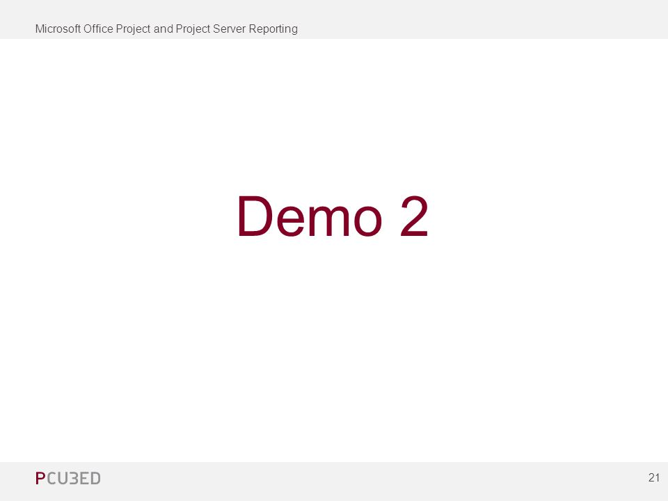 Microsoft Office Project and Project Server Reporting 21 Demo 2