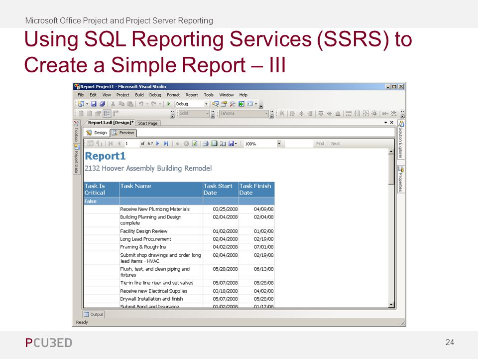 Microsoft Office Project and Project Server Reporting 24 Using SQL Reporting Services (SSRS) to Create a Simple Report – III