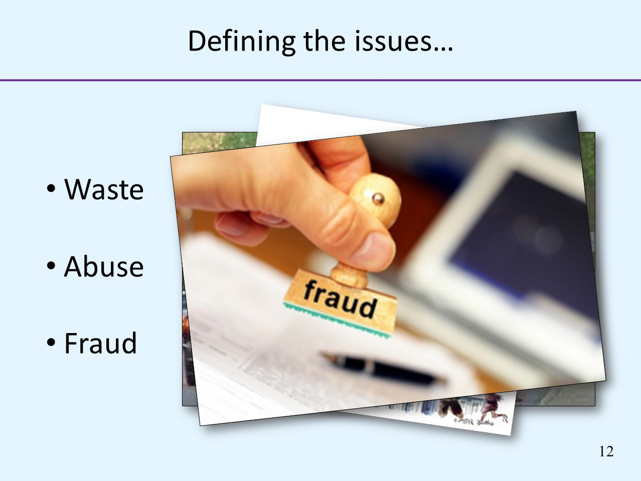 Defining the issues… Waste Abuse Fraud 12