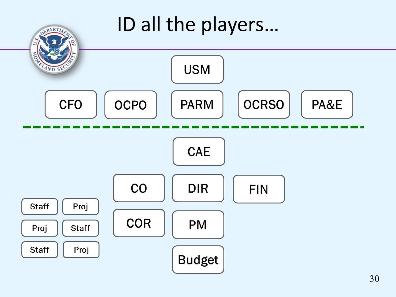 ID all the players… USM PARMOCRSO OCPO CAE CODIR PM COR Proj Staff Proj Staff Proj Staff Budget FIN CFOPA&E 30