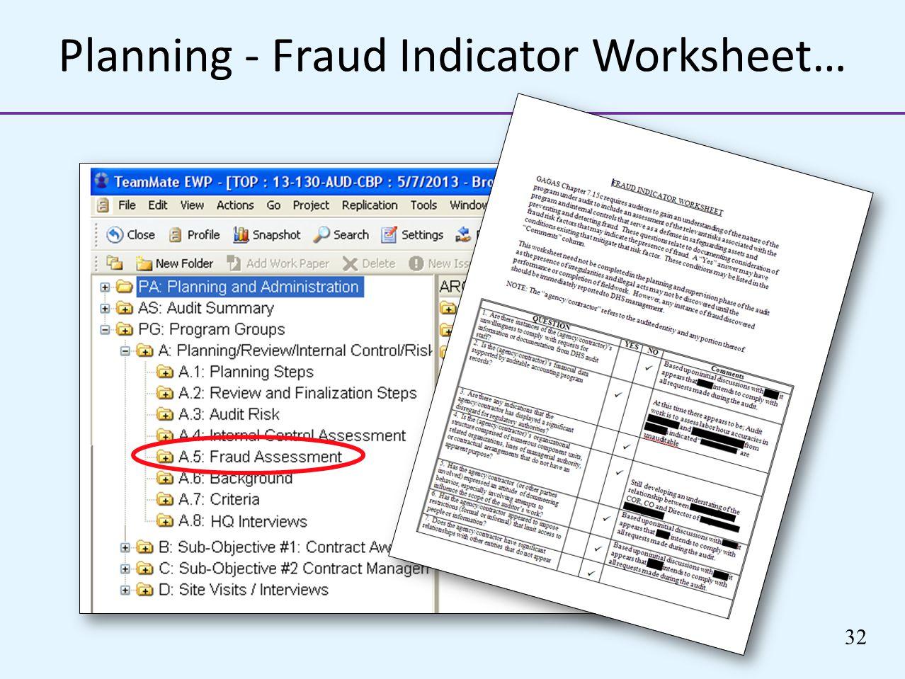 Planning - Fraud Indicator Worksheet… 32