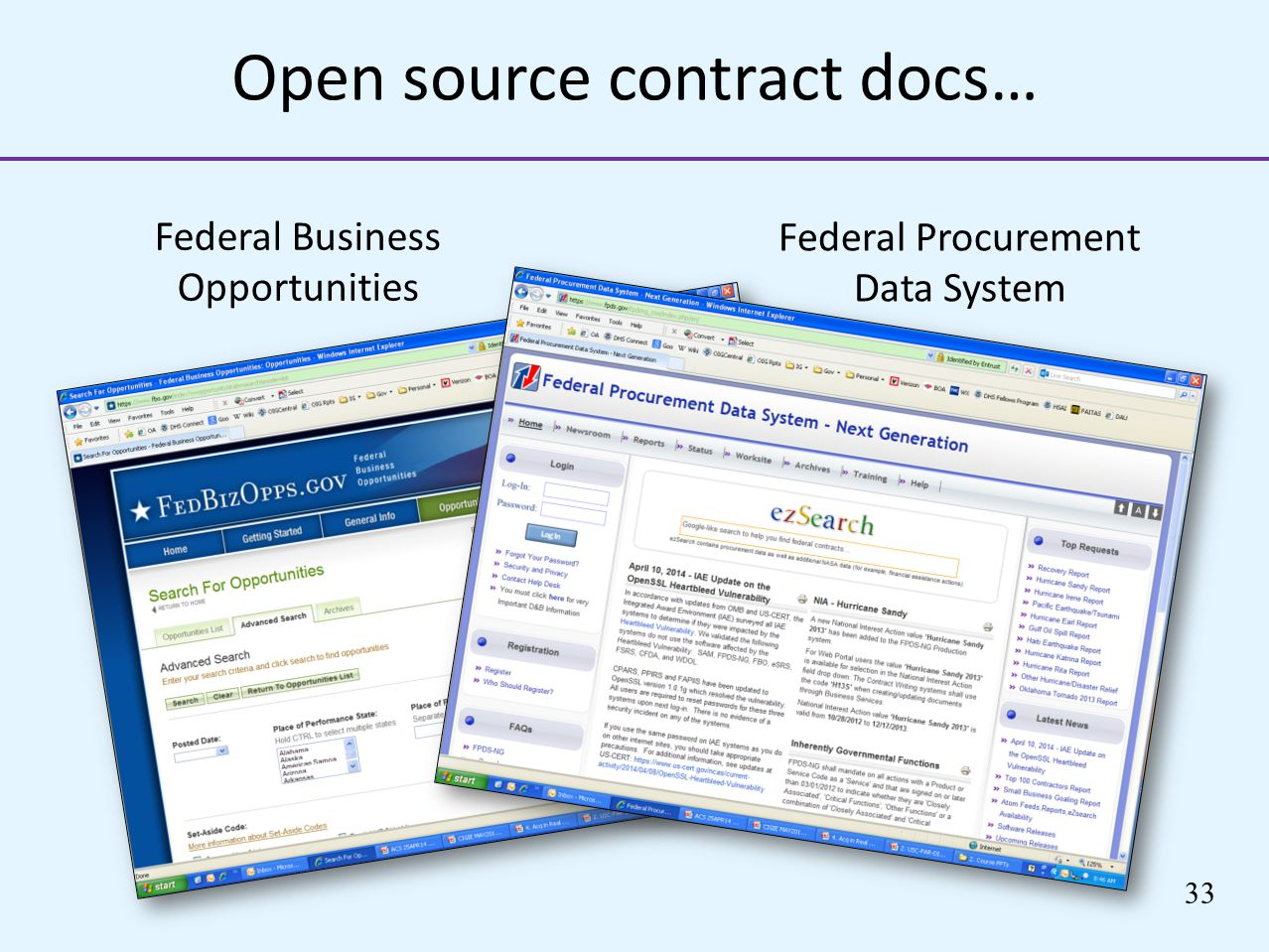 Open source contract docs… Federal Business Opportunities 33 Federal Procurement Data System