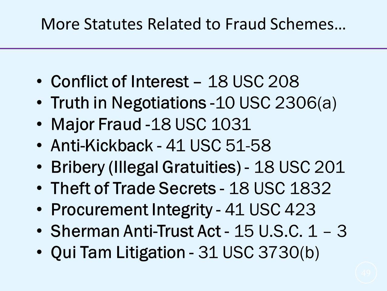 49 Conflict of Interest – 18 USC 208 Truth in Negotiations -10 USC 2306(a) Major Fraud -18 USC 1031 Anti-Kickback - 41 USC 51-58 Bribery (Illegal Grat