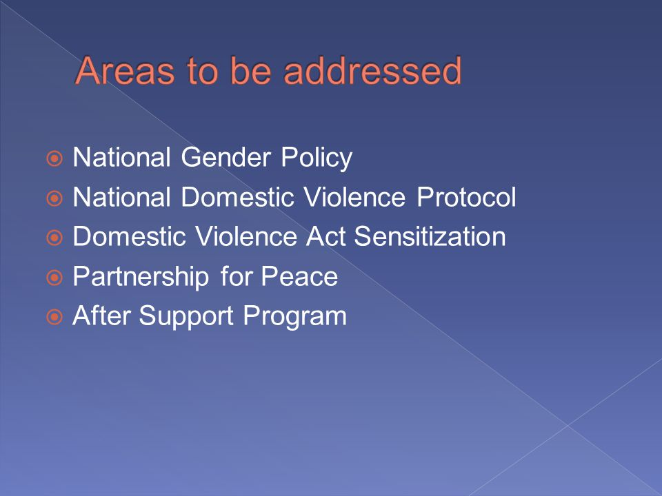 National Gender Policy National Domestic Violence Protocol Domestic Violence Act Sensitization Partnership for Peace After Support Program