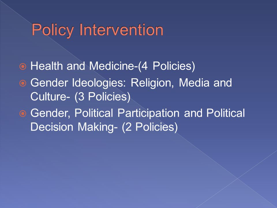 Health and Medicine-(4 Policies) Gender Ideologies: Religion, Media and Culture- (3 Policies) Gender, Political Participation and Political Decision Making- (2 Policies)