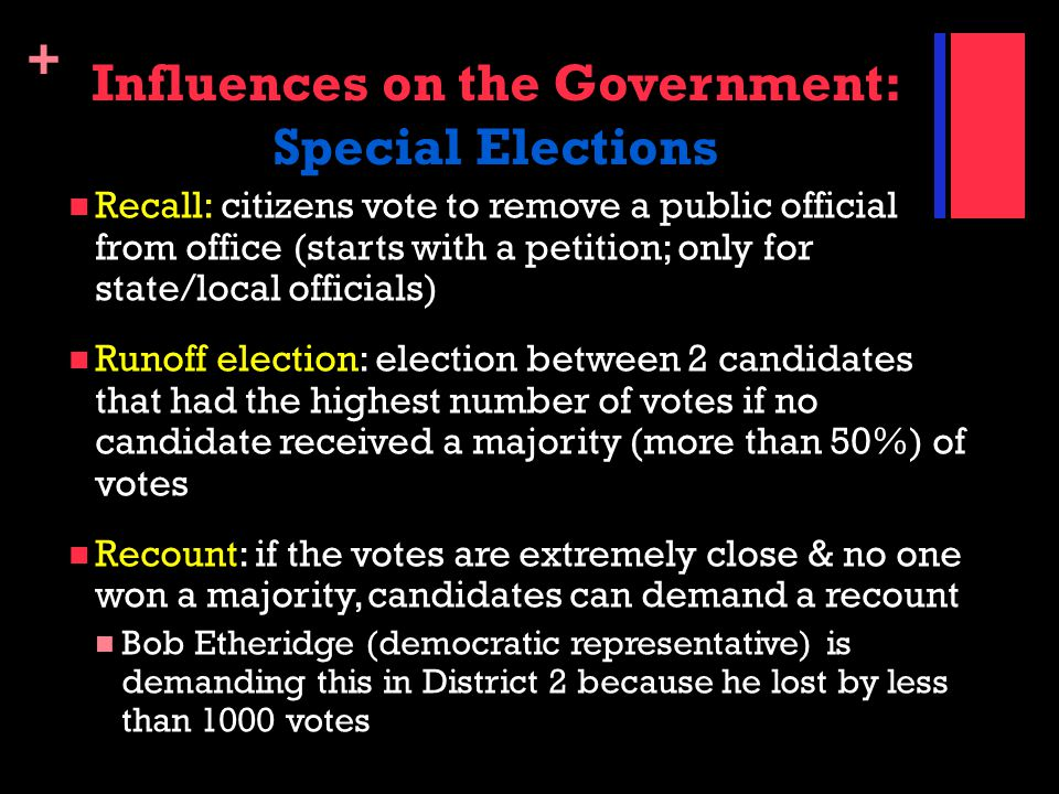 + Influences on the Government: Special Elections Recall: citizens vote to remove a public official from office (starts with a petition; only for stat
