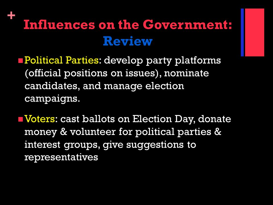 + Influences on the Government: Review Political Parties: develop party platforms (official positions on issues), nominate candidates, and manage elec