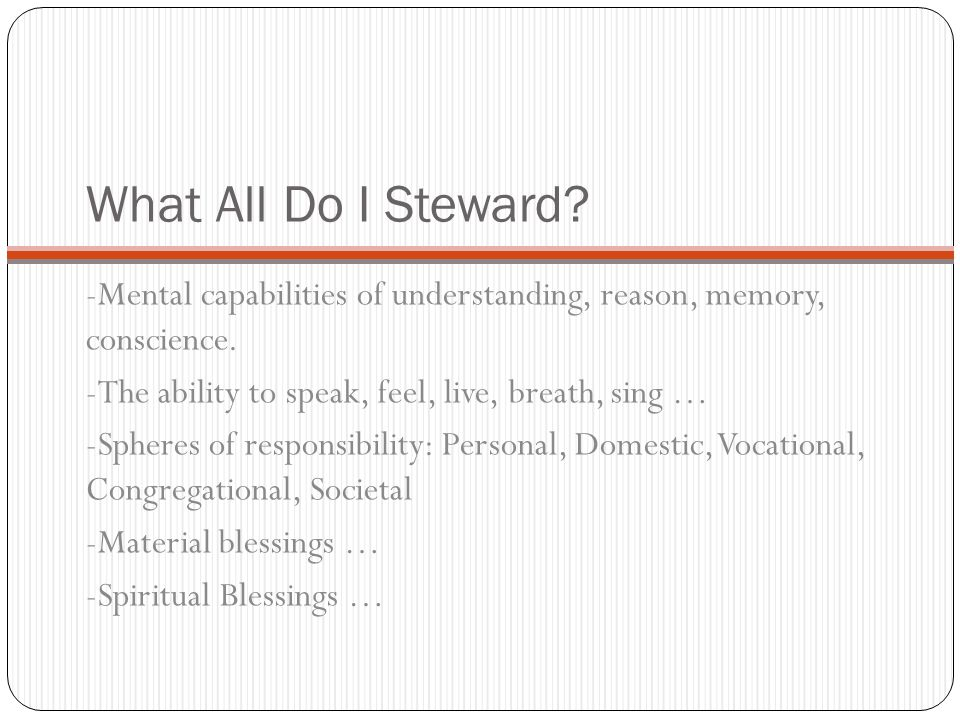 What All Do I Steward. -Mental capabilities of understanding, reason, memory, conscience.