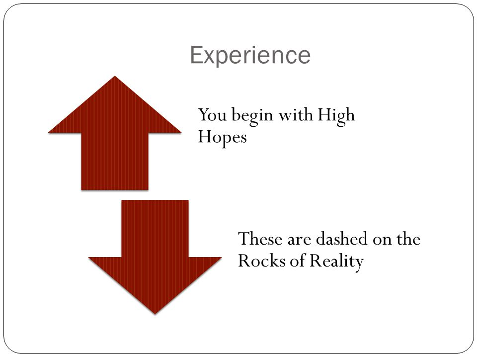 Experience You begin with High Hopes These are dashed on the Rocks of Reality