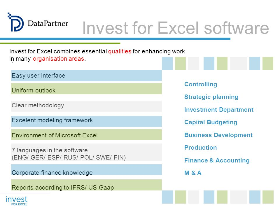 Controlling Strategic planning Investment Department Capital Budgeting Business Development Production Finance & Accounting M & A Invest for Excel sof