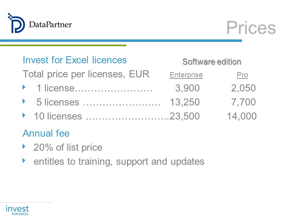 Invest for Excel licences Total price per licenses, EUR Enterprise Pro 1 license…………………… 3,900 2,050 5 licenses ……………………13,250 7,700 10 licenses ……………………..23,500 14,000 Annual fee 20% of list price entitles to training, support and updates Prices Software edition