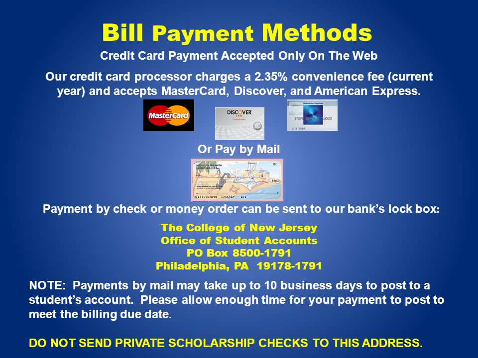Credit Card Payment Accepted Only On The Web Our credit card processor charges a 2.35% convenience fee (current year) and accepts MasterCard, Discover, and American Express.