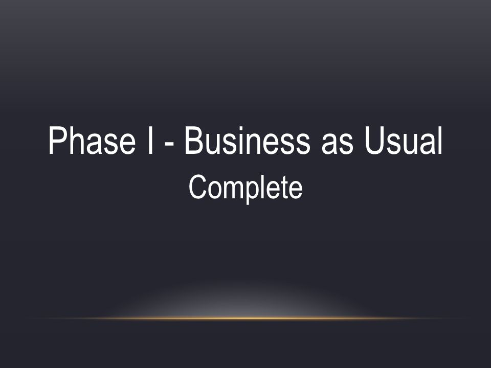 Phase I - Business as Usual Complete