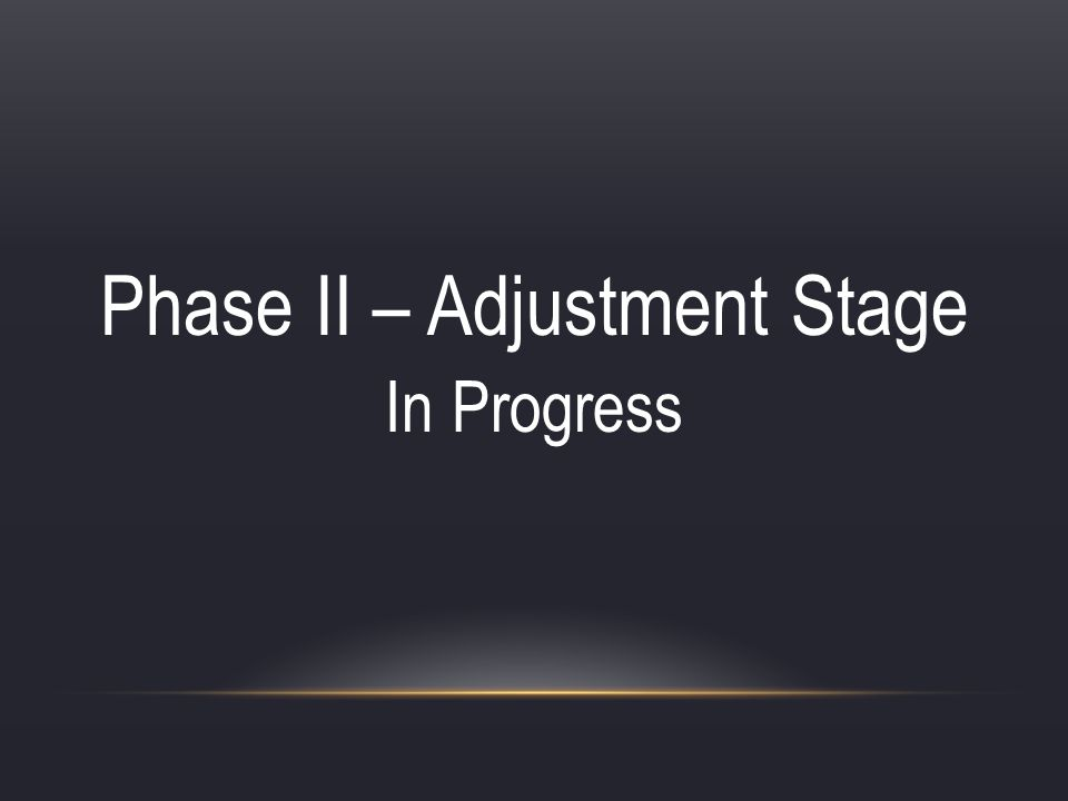 Phase II – Adjustment Stage In Progress