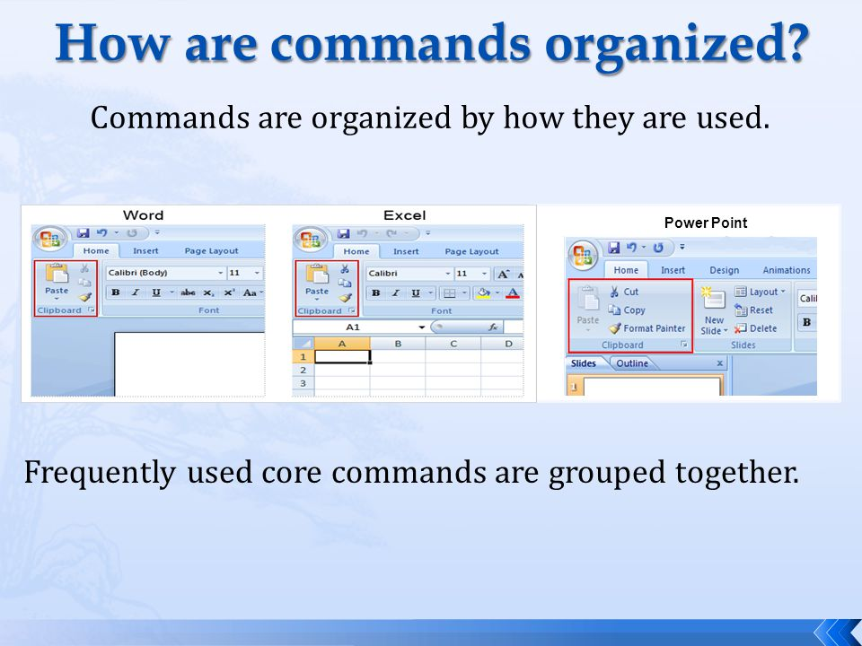 How are commands organized. Commands are organized by how they are used.