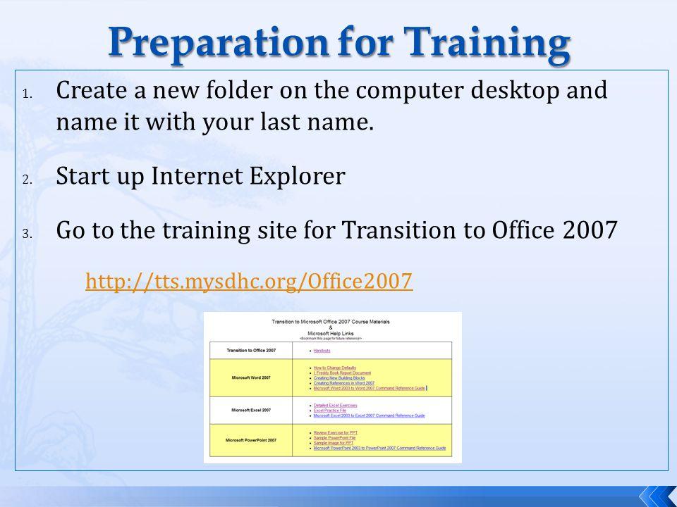 Preparation for Training 1.