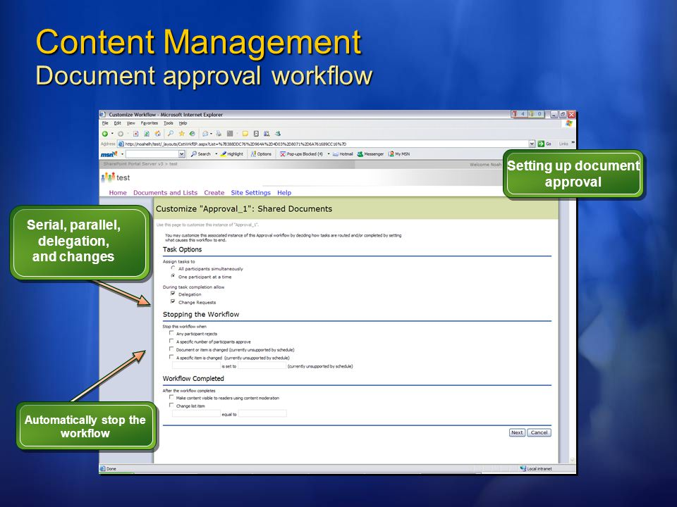 Content Management Document approval workflow Setting up document approval Serial, parallel, delegation, and changes Automatically stop the workflow
