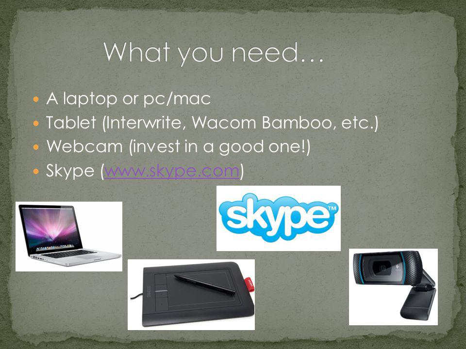 A laptop or pc/mac Tablet (Interwrite, Wacom Bamboo, etc.) Webcam (invest in a good one!) Skype (