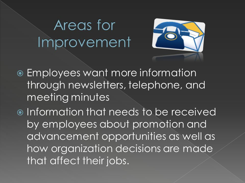 Employees want more information through newsletters, telephone, and meeting minutes Information that needs to be received by employees about promotion and advancement opportunities as well as how organization decisions are made that affect their jobs.
