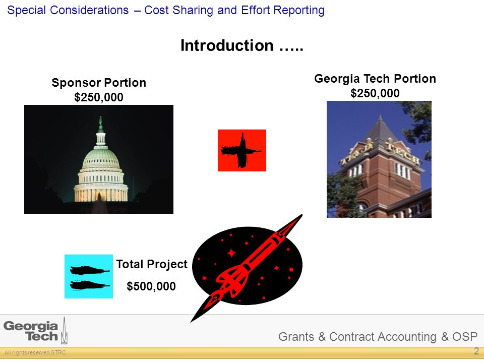 Grants & Contract Accounting & OSP All rights reserved GTRC Special Considerations – Cost Sharing and Effort Reporting Introduction ….. 2 Sponsor Port