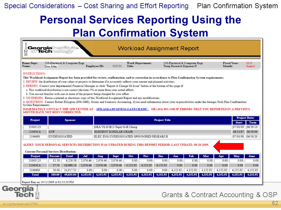 Grants & Contract Accounting & OSP All rights reserved GTRC Special Considerations – Cost Sharing and Effort Reporting Personal Services Reporting Using the Plan Confirmation System 62 Plan Confirmation System
