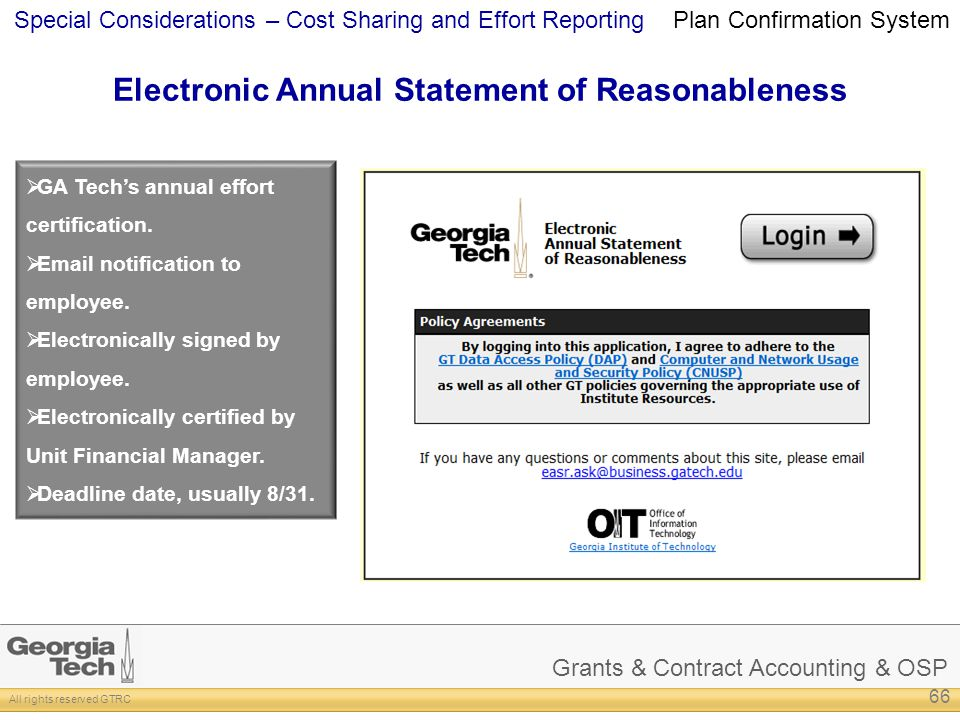 Grants & Contract Accounting & OSP All rights reserved GTRC Special Considerations – Cost Sharing and Effort Reporting Electronic Annual Statement of