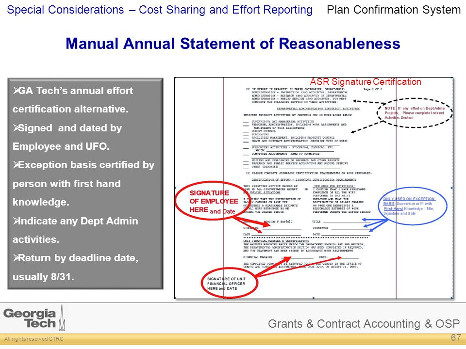 Grants & Contract Accounting & OSP All rights reserved GTRC Special Considerations – Cost Sharing and Effort Reporting Manual Annual Statement of Reas