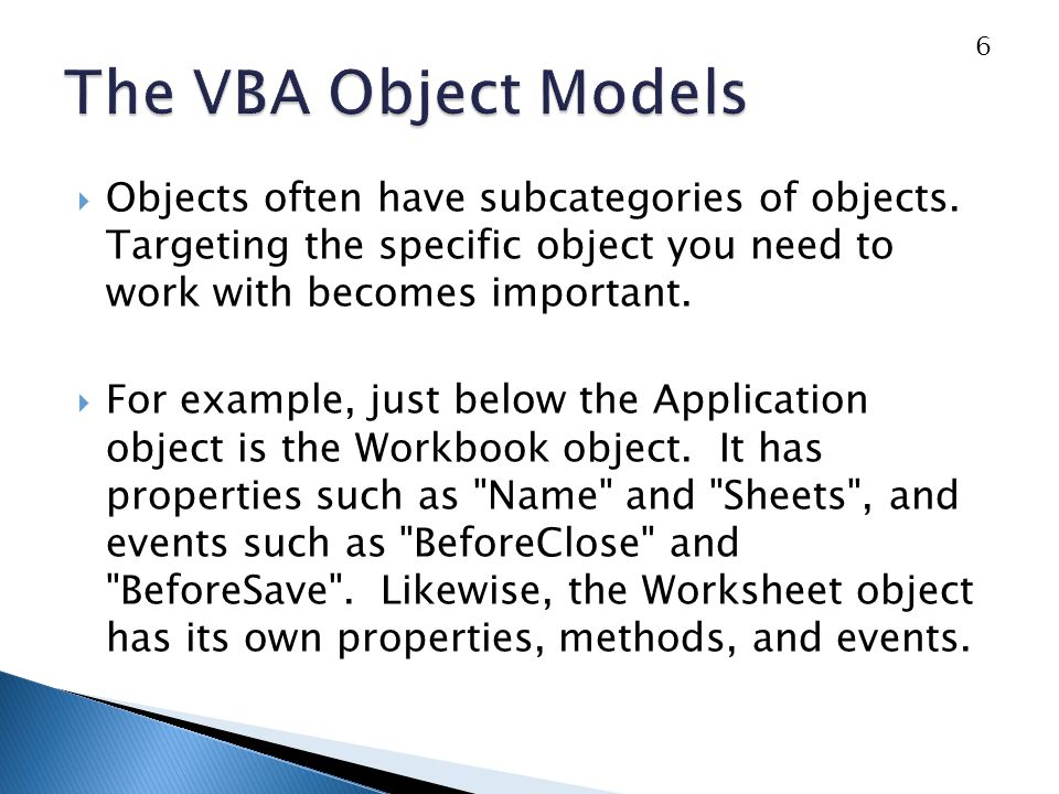 Objects often have subcategories of objects.