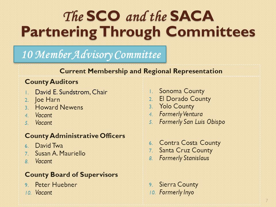 10 Member Advisory Committee 7 The SCO and the SACA Partnering Through Committees County Auditors 1.