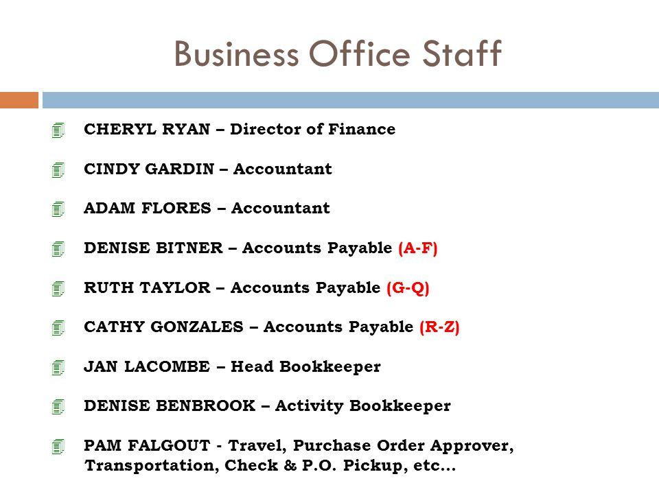 Business Office Staff 4 CHERYL RYAN – Director of Finance 4 CINDY GARDIN – Accountant 4 ADAM FLORES – Accountant 4 DENISE BITNER – Accounts Payable (A