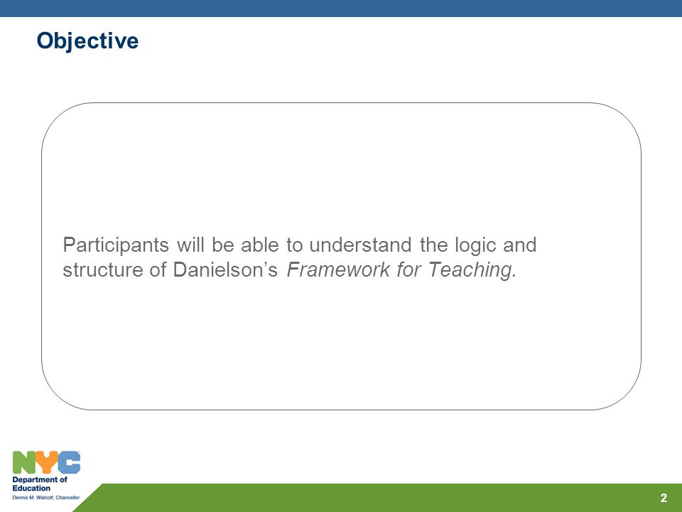 Objective 2 Participants will be able to understand the logic and structure of Danielsons Framework for Teaching.