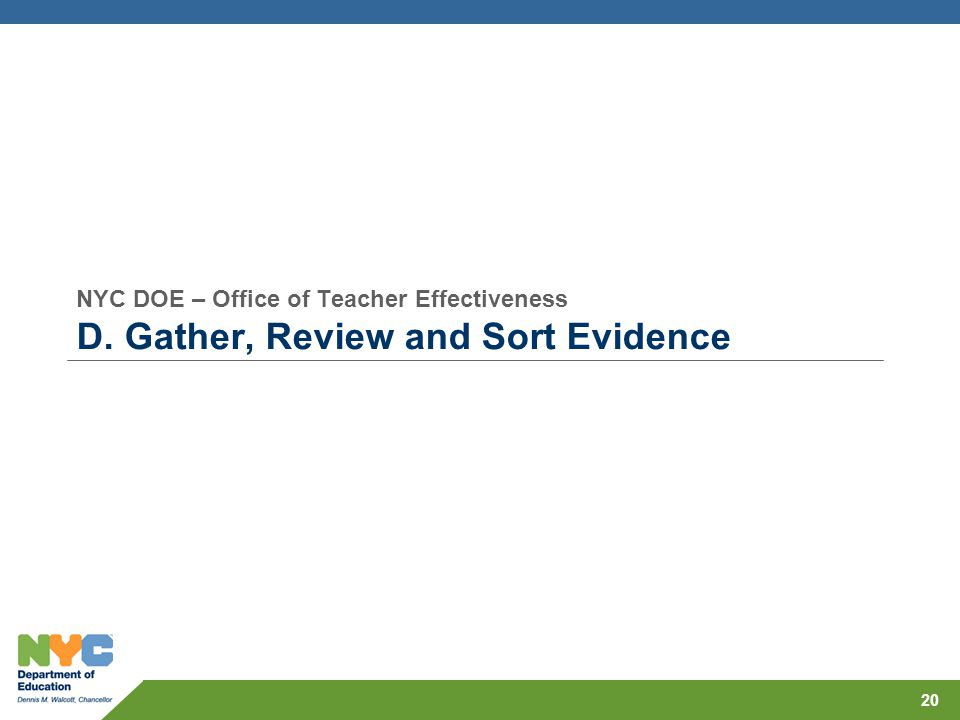 NYC DOE – Office of Teacher Effectiveness D. Gather, Review and Sort Evidence 20