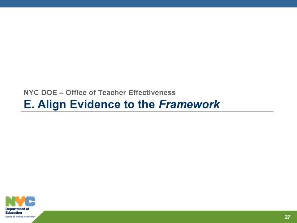 NYC DOE – Office of Teacher Effectiveness E. Align Evidence to the Framework 27