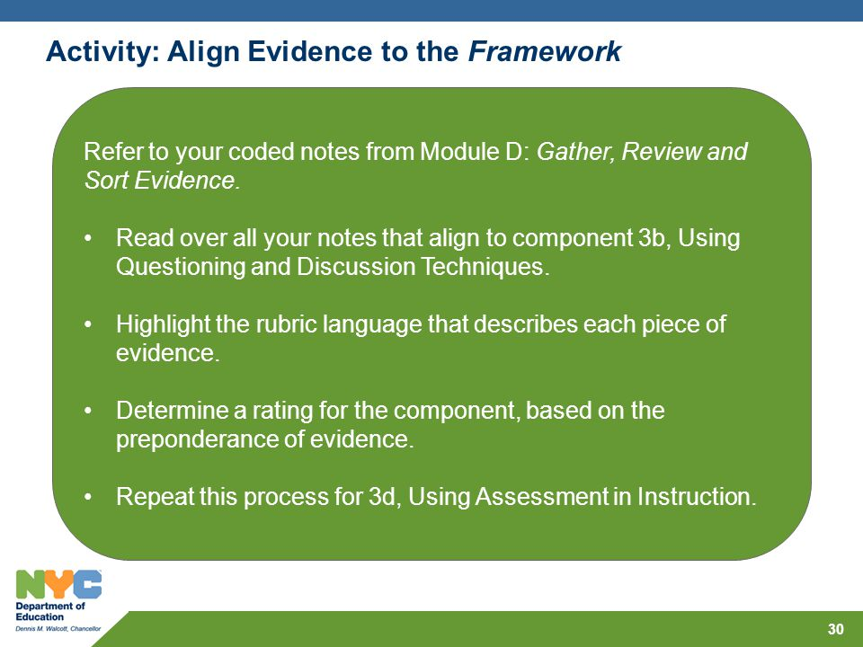 Refer to your coded notes from Module D: Gather, Review and Sort Evidence. Read over all your notes that align to component 3b, Using Questioning and