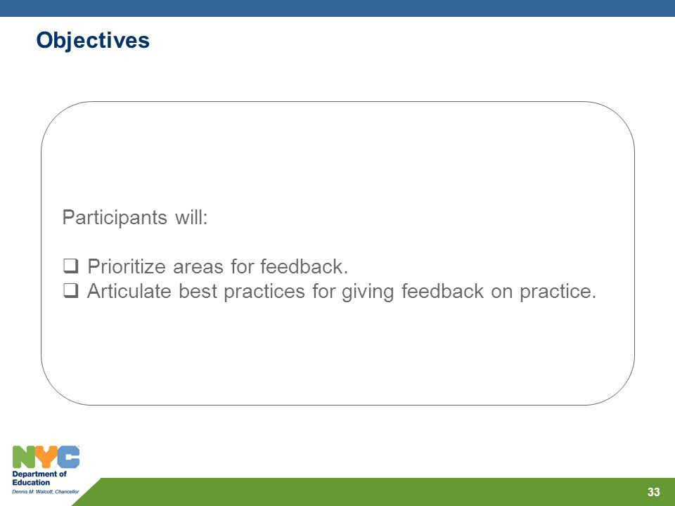 Participants will: Prioritize areas for feedback. Articulate best practices for giving feedback on practice. Objectives 33