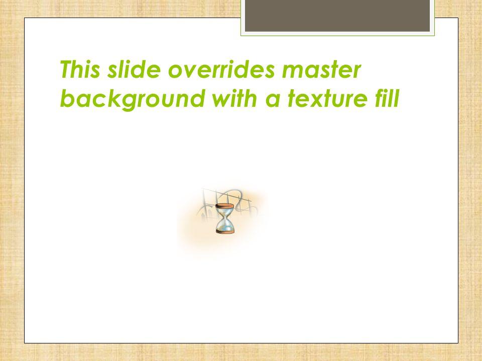 Title slide Slide layout turns off graphics from the master slide